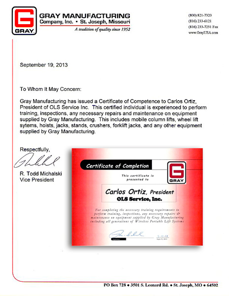 OLS Service Certification Gray Manufacturing